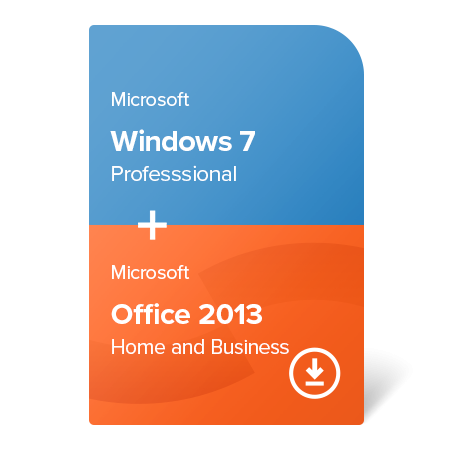 Microsoft Windows 7 Professional + Microsoft Office 2013 Home and Business (W7-O13-ESD) elektronický certifikát