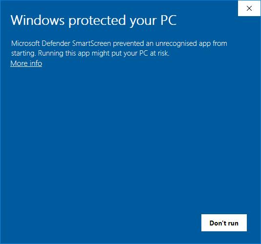 Windows SmartScreen message