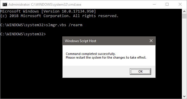 Windows rearm reset trial timer cmd
