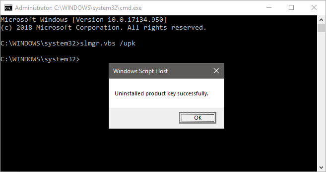 Windows upk uninstall product key cmd.png