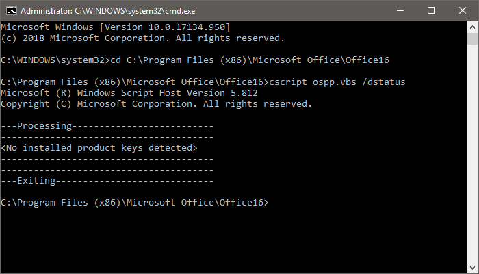 Office no key installed cmd
