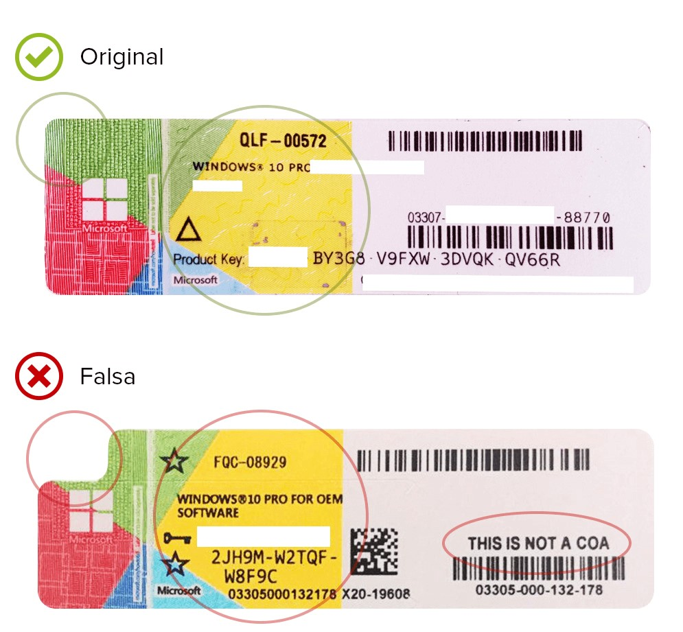 windows 10 original vs fake COA sticker