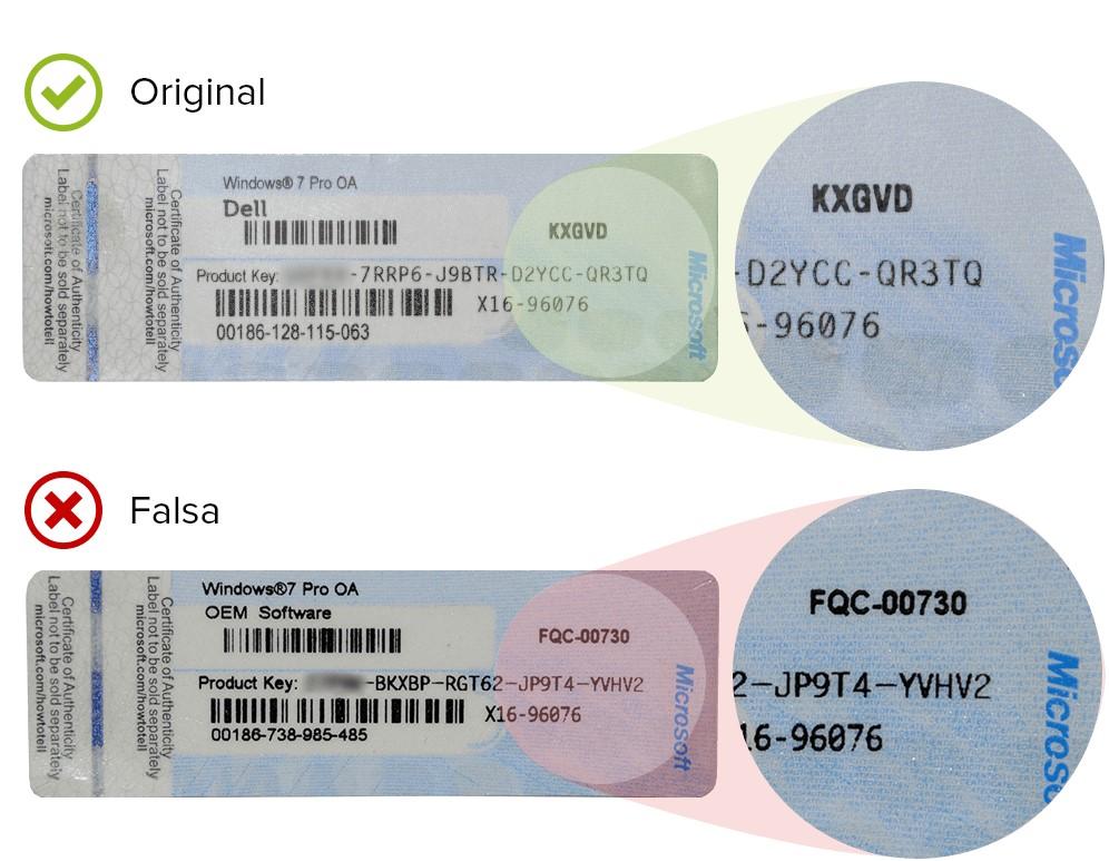 windows 7 original vs fake COA sticker
