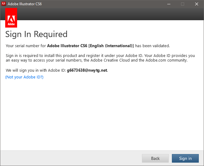Adobe Illustrator CS6 installation account