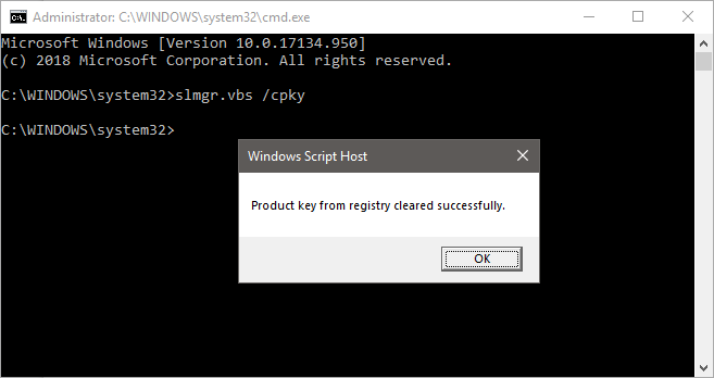 Windows cpky clear product registry cmd