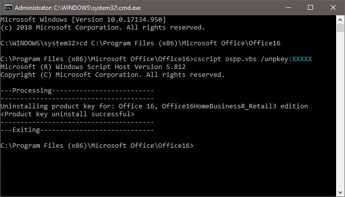 Office unpkey uninstall product key cmd