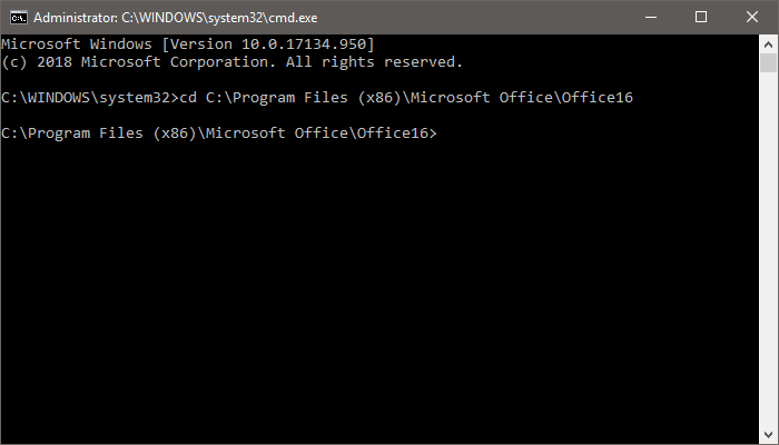 Office cd change directory correct cmd