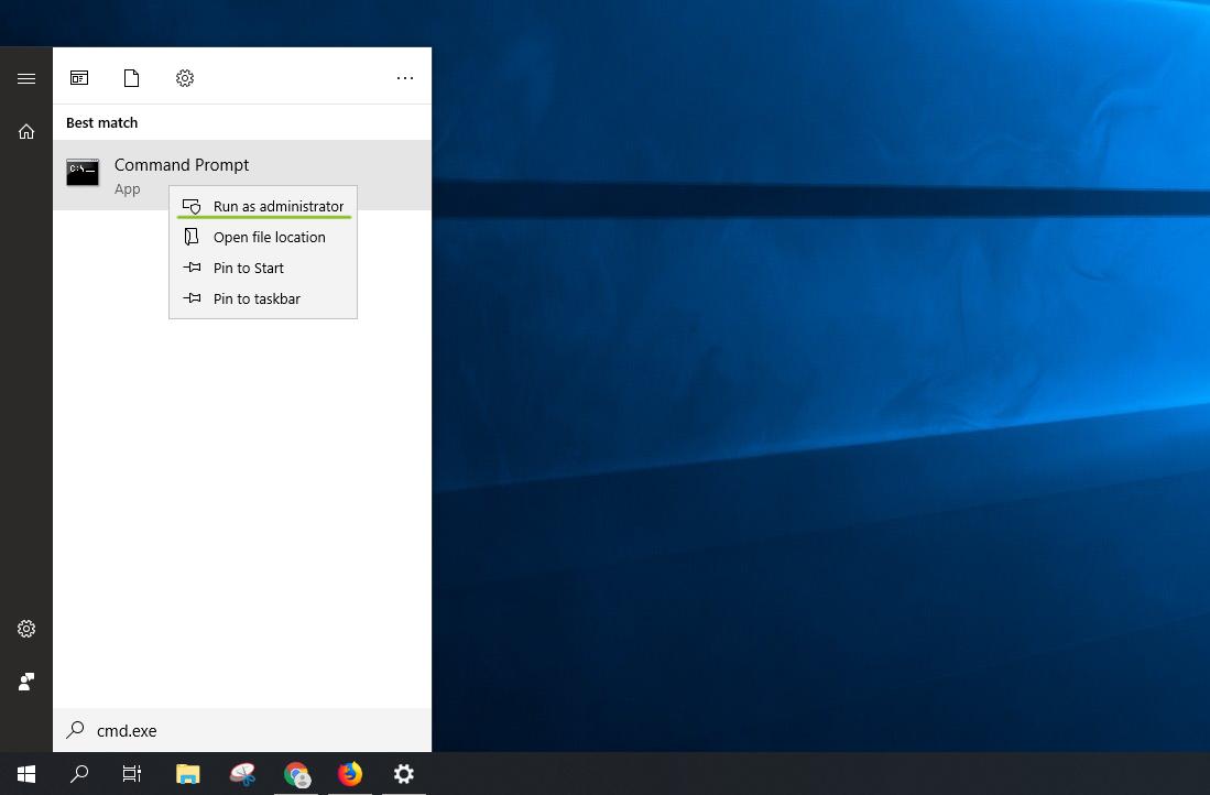 Windows start menu cmd