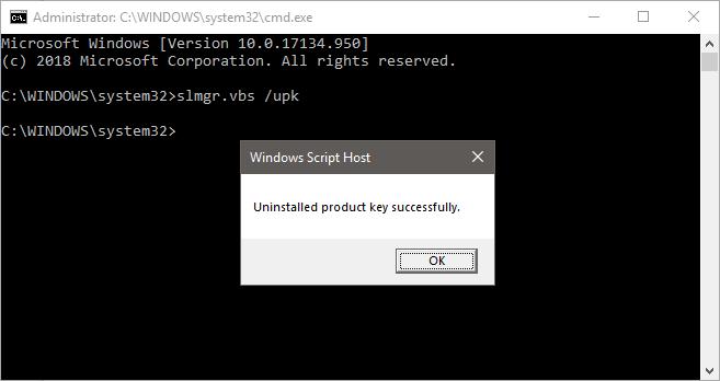 Windows upk uninstall product key cmd