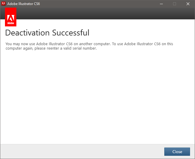 Adobe Illustrator CS6 deactivation